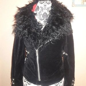 Tripp NYC Goth Punk Fur Moto Black Jacket